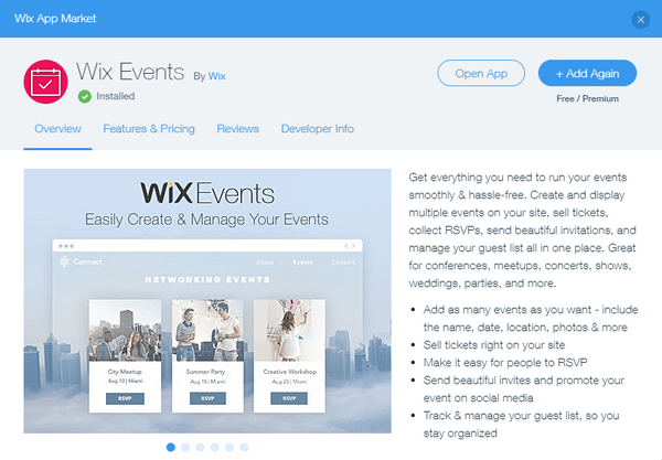 Wix App Events