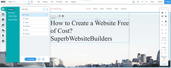 Wix menu editor