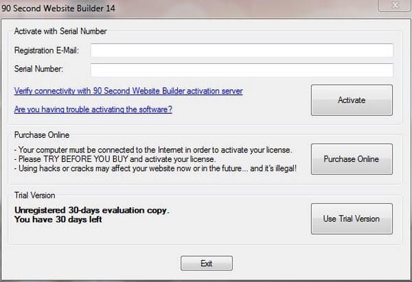 90 Second Website Builder Activation
