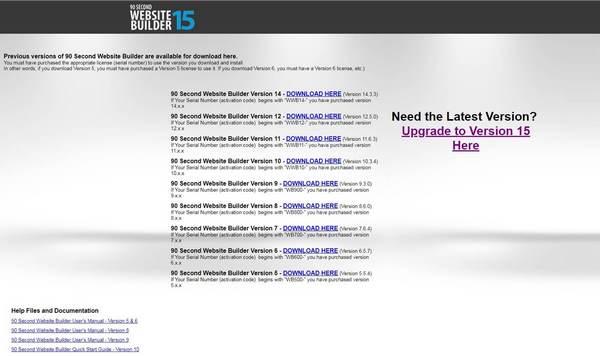 90 Second Website Builder Choose Version