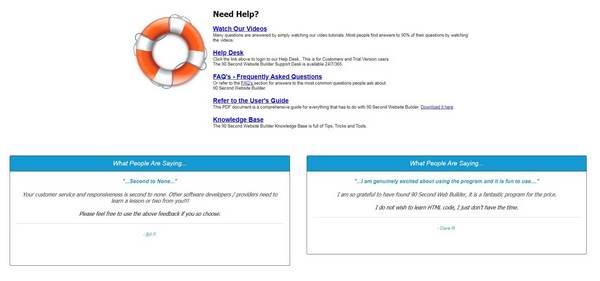 90 Second Website Builder Customer Support