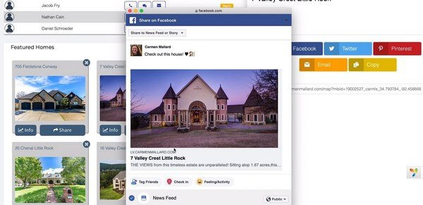 Listingvillage social media sharing