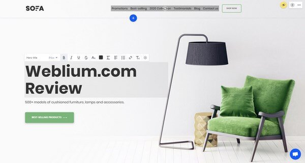 Weblium editor