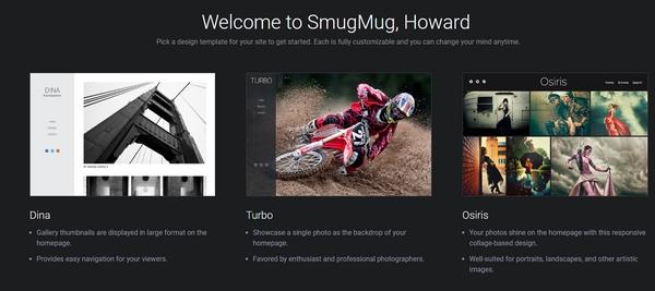 SmugMug start page