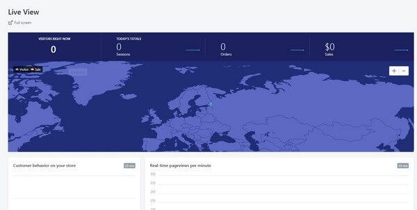 Shopify Analitics Live view