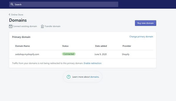 Shopify connect domain