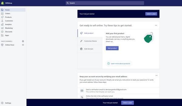 Shopify start page