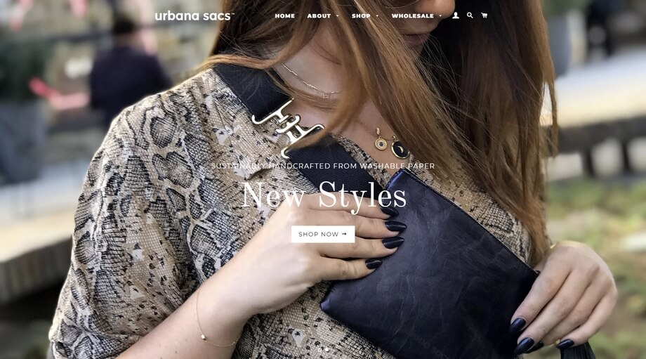 A typical Shopify website with all necessary features in the pack to sell bags and accessories