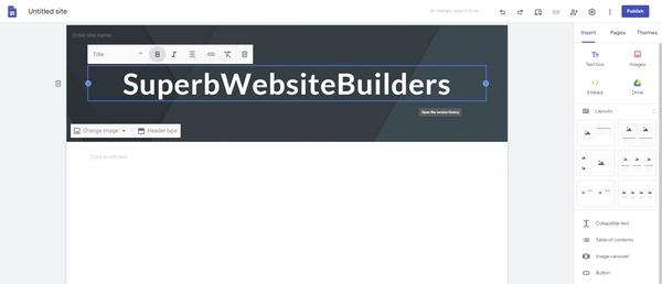 Google Sites editor