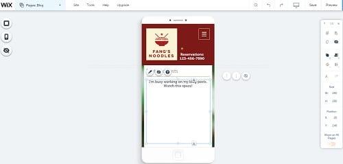 Wix Mobile Editor