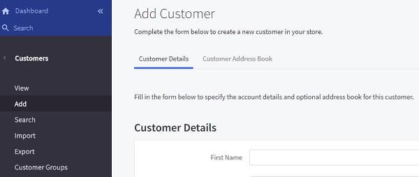 Bigcommerce Dashboard Customers