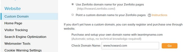 Zenfolio Website Settings