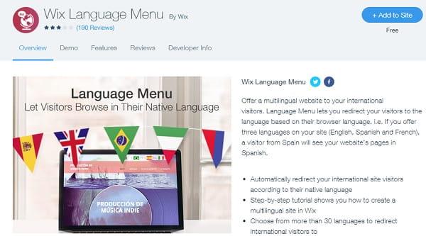Wix Language Menu
