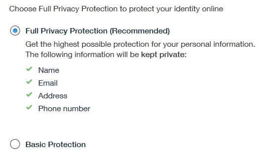 Step 7 - Choose Privacy Protection of the Domain