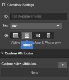 Webflow Container Settings