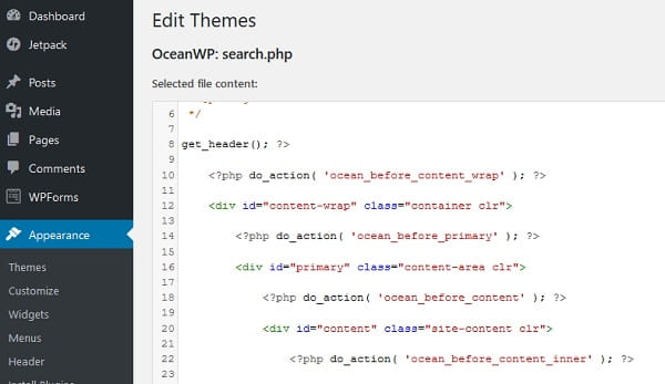 WordPress 5.0 Code Editor