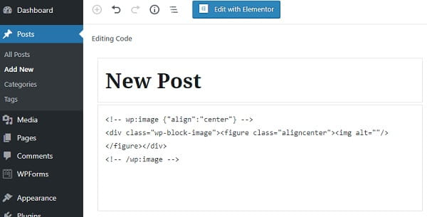 WordPress Post New Code Editor