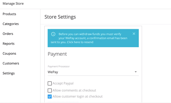 Webstarts payment options