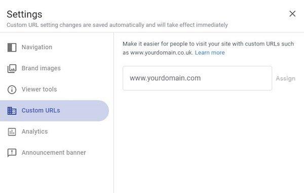 Google Sites Domain