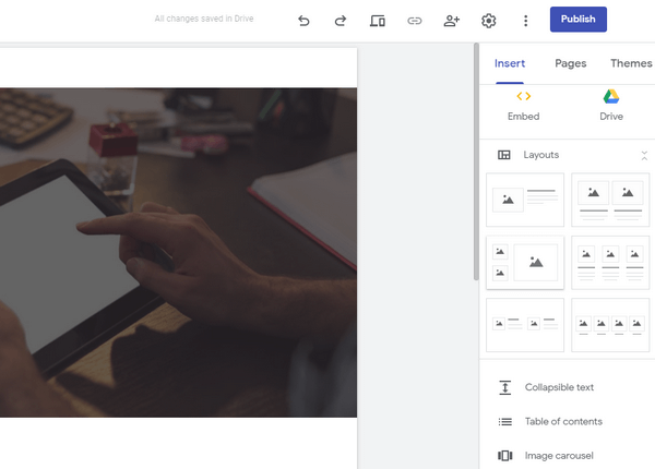 Google Sites: easy of use tabs