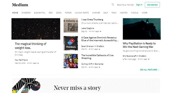 Medium – Online Publishing Website to Create a Free Blog