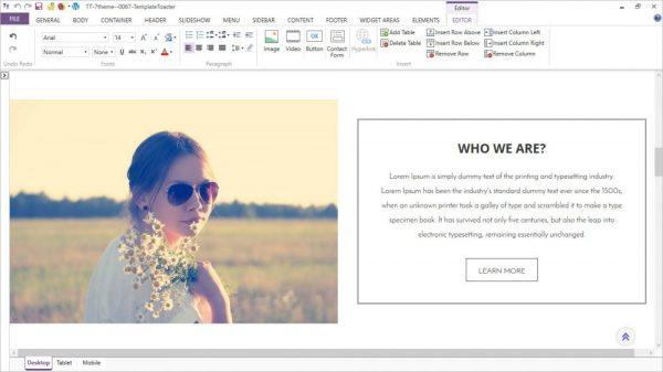 TemplateToaster Content Editor