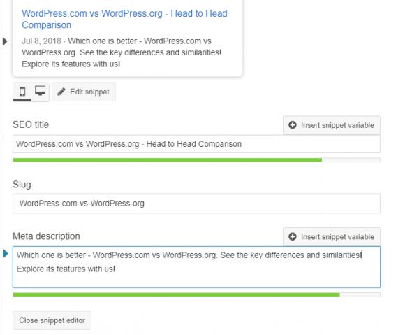 WordPress.org SEO Settings