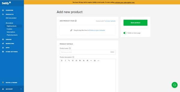 Sellfy add product