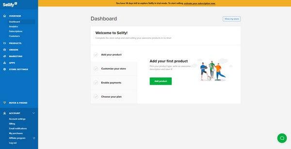 Sellfy dashboard