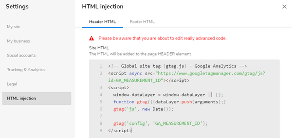 Sitebuilder HTML injection
