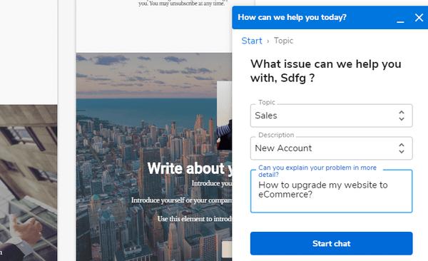Sitebuilder online chat help