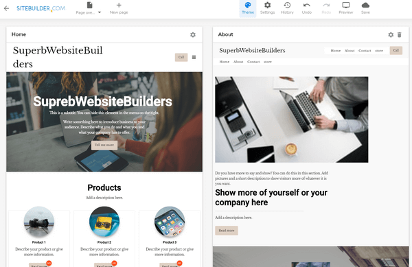 Sitebuilder website layouts