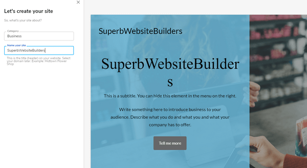 Sitebuilder website name choose