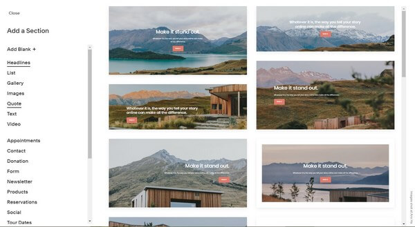 Squarespace Page Sections and Elements