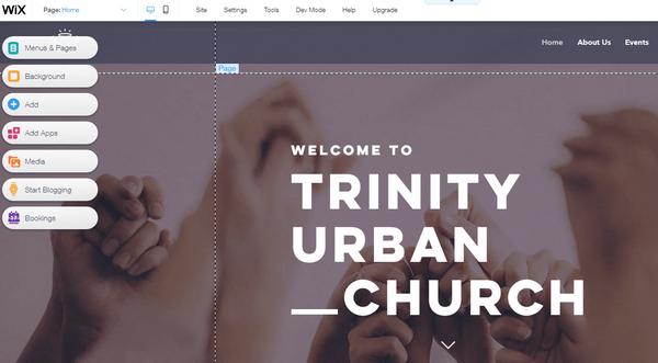 Wix church homepage editor