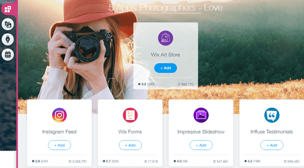 Wix photography apps
