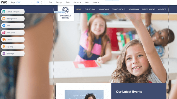 Wix school website editor