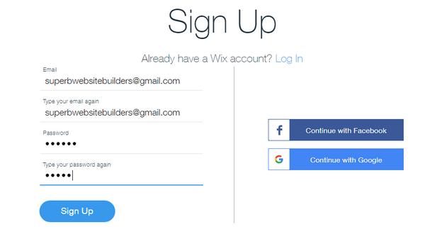 Wix website builder - sign in