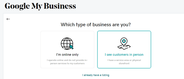 business type selection