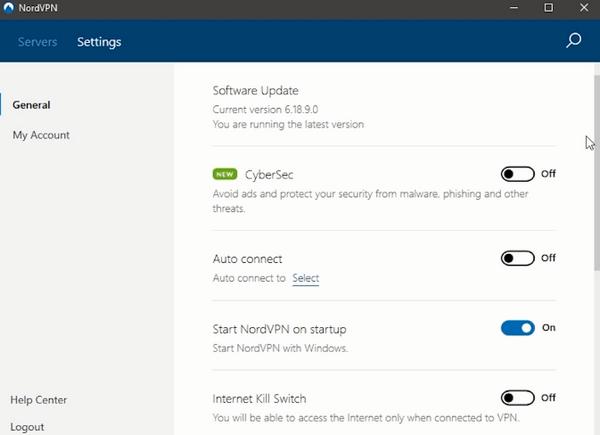 NordVPN security settings
