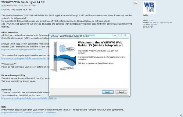 WYSIWYG windows instalation