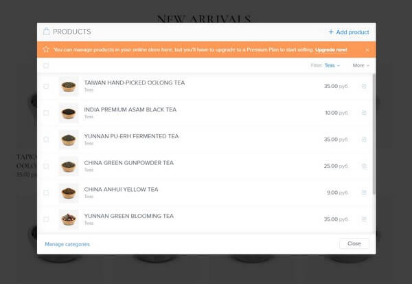 Webnode add product