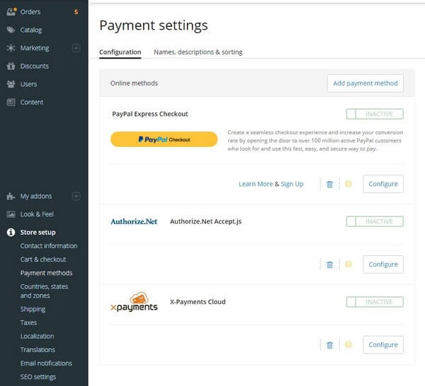 X-Cart Payments Setting