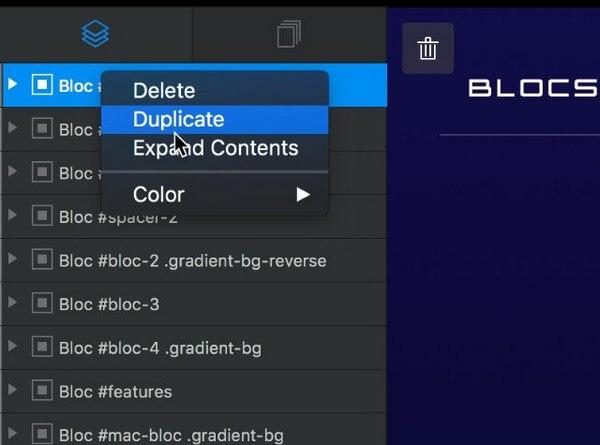 Blocs Layer Tree Options