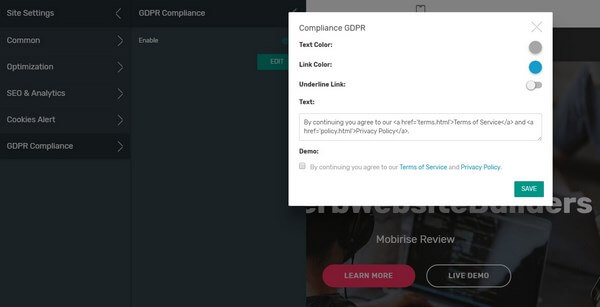 Mobirise GDPR Compliance