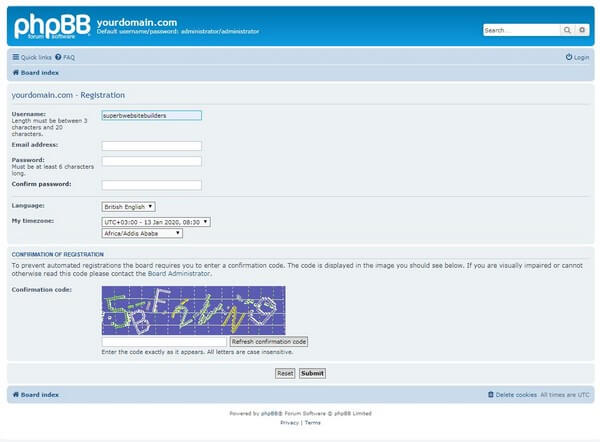 phpBB registration