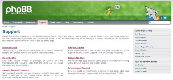 phpBB support