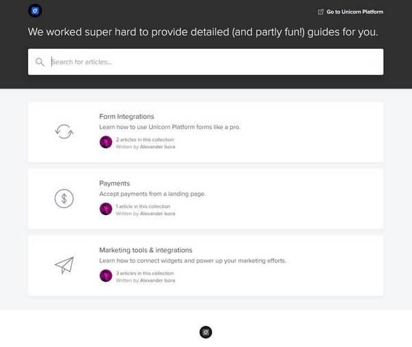 Unicorn Platform customer support