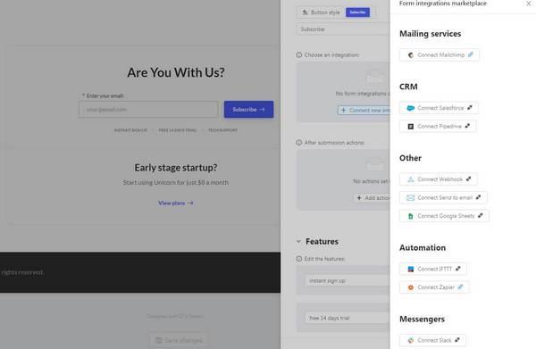 Unicorn Platform integration