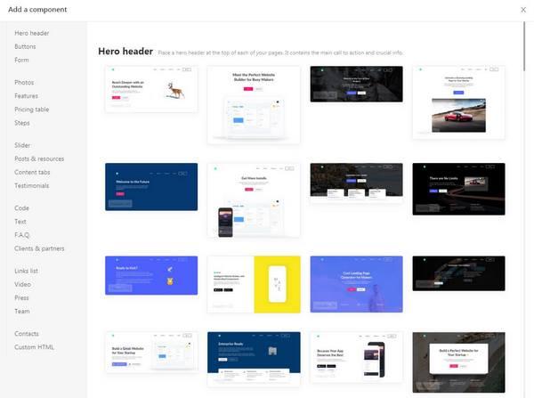 Unicorn Platform page editor